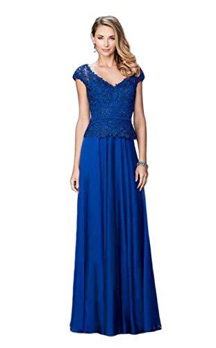 (La Femme - Rosette Peplum Chiffon Gown 23085 Marine Blue)