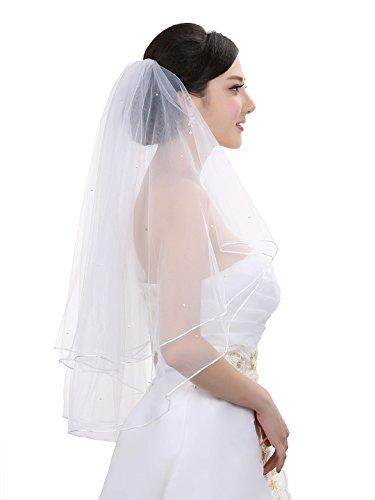 2T 2 Tier Rattail Scattered Rhinestone Bridal Wedding Veil - White Fingertip Length 36