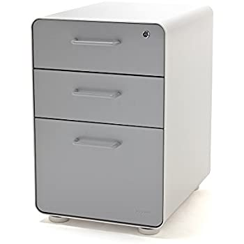 Amazon Com Poppin White Light Gray Stow 3 Drawer File