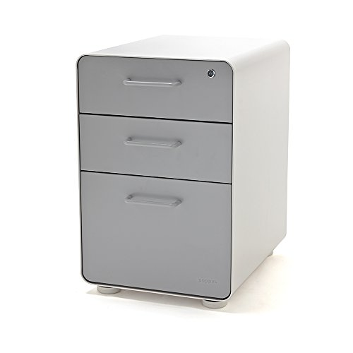 Painted Cabinet File (Poppin White + Light Gray Stow 3-Drawer File Cabinet, Available in 10 Colors, Legal/Letter)