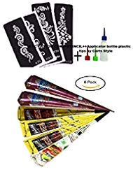 Carts Style 6Pcs Temporary Tattoo Paste Cone for Art Drawing,Designing,Painting on Tattoo Body with Tattoo Stencil Set +Applicator bottle plastic tips (Temporary Tattoo Paste)