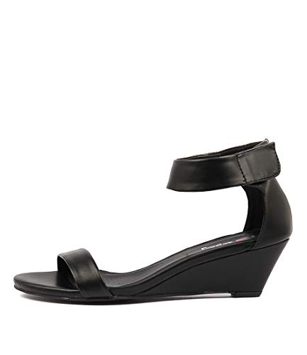 I LOVE BILLY Miesha Womens Shoes Medium Heels Summer Wedges Black smooth