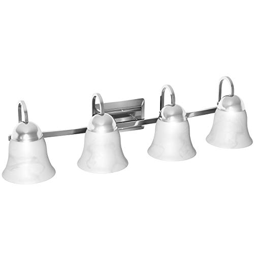 4 Lighting Vanity Lamp - Tangkula 4 Lights Bathroom Vanity Lamp Brushed Chrome Wall Mounted with White Alabaster Glass Shade Bath Wall Sconce Pendant Lamp Polished Vanity Light Wall Sconces, 32W UL(Chrome 4 Lights)