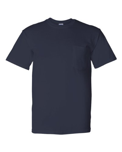 Gildan 5.6 oz. Ultra Blend 50/50 Pocket T-Shirt, Navy, (5.6 Ounce Polyester Moisture)