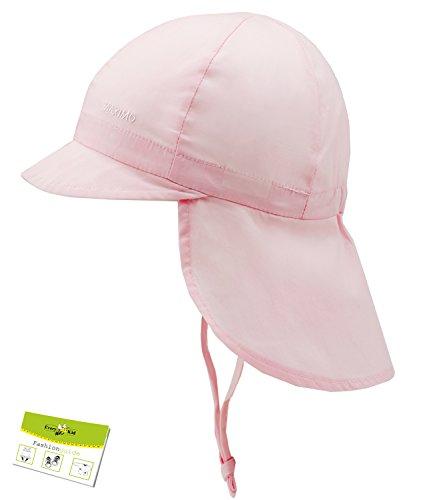 Maximo Nackenschutzmütze UV-Schutz Bindemütze Babymütze Jungenmütze Kleinkindmütze Sommermütze Mütze (MX-04500-708580-S16-BJ0-30-45) in Rosa, Größe 45 inkl. EveryKid-Fashionguide