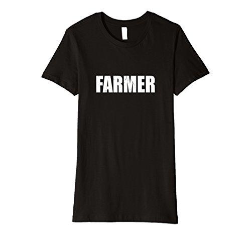Farmer's Daughter Costume (Womens Farmer T Shirt Halloween Costume Funny Retro Distressed Medium Black)