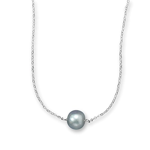 Single Silver 11mm Dyed Cultured Freshwater Pearl Necklace Sterling Silver Adjustable Length