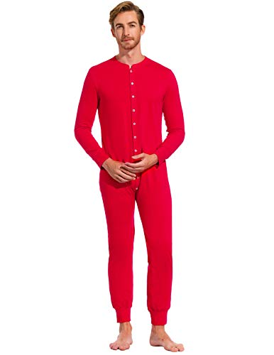Button Down Pajamas for Men Mid Weight Thermal Union Suit for Holiday Red M