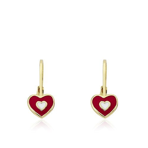 Little Miss Twin Stars Kids Earrings -Red Frosted Heart 14k Gold Platedls Earrings Enamel Red Heart Leverback Girls Earrings-Brass