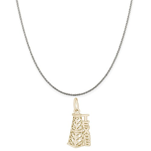 Rembrandt Charms Two-Tone Sterling Silver Texas Oil Rig Charm on a Sterling Silver Rope Chain Necklace, 20