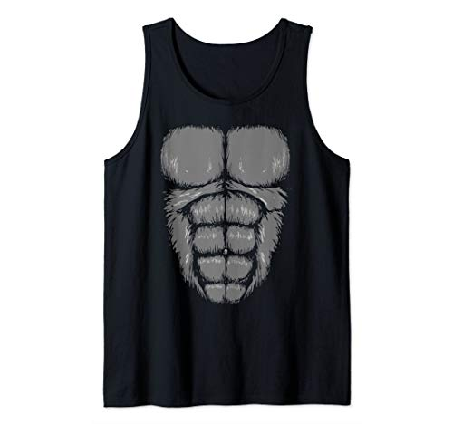 Gorilla Chest Muscles Abs Costume Art Halloween Easy Gift Tank -