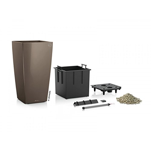 Lechuza EP-LCUB-TAU-12 12 x 12 x 22 in. Cubico Premium Planter44; Taupe Gloss by Lechuza