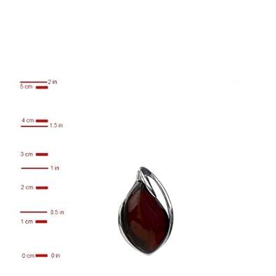 Sterling Silver Red Dark Amber Pendant
