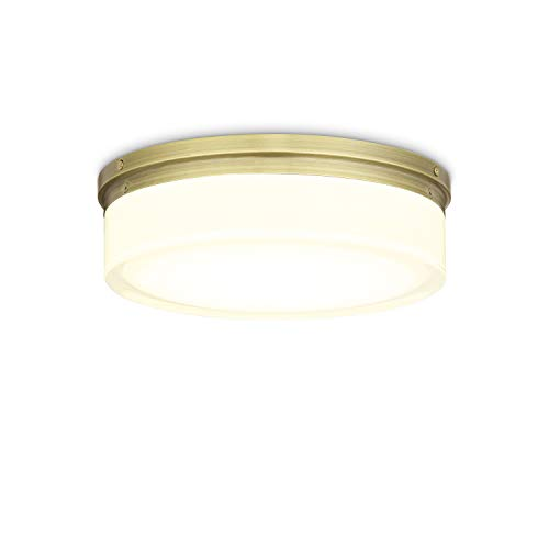 Brass Flush Mount Ceiling Light - 11 Inch Glass, LED Round Fixture, Dimmable, Damp Located - for Vanity, Bathroom, Bedroom, Kitchen, Living Room ()