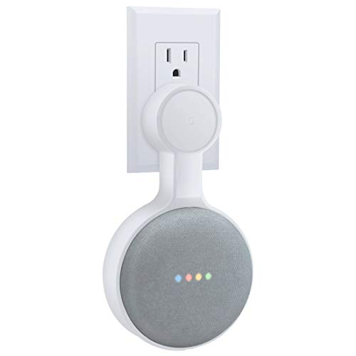 Lamodee Outlet Wall Mount Stand Hanger for Google Home Mini Voice Assistants,Compact Case Plug Hiding The Cord in Kitchen Bedroom Bathroom,A Space-Saving Accessories (White, 1Pack)