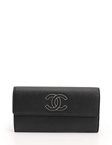 (シャネル) CHANEL ココマーク 二つ折り長財布 キャビアスキン 黒 A50070 中古 B07MT98W7L