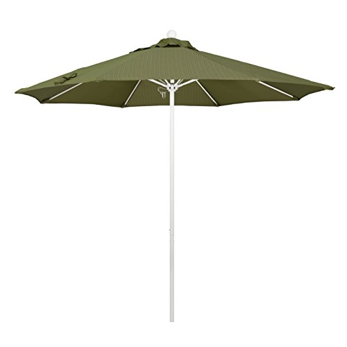 Olefin Terrace - California Umbrella 9' Round Aluminum/Fiberglass Umbrella, Push Open, White Pole, Olefin Terrace Fern Fabric