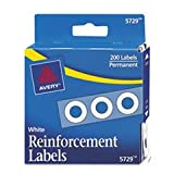 ** Dispenser Pack Hole Reinforcements, 1/4'' Diameter, White, 200/Pack