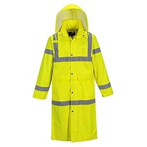 Portwest UH445 Hi Vis Classic Rain Coat 48″ Long Waterproof Rain Jacket with Hood