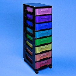 Really Useful Box Multicoloured Storage Unit L Black Tower Rainbow Drawers H