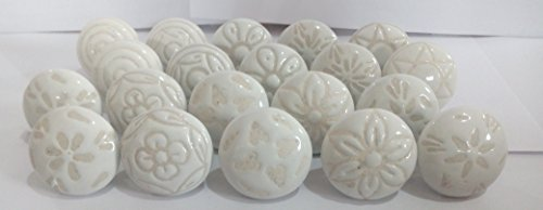20 X Mix Vintage Look White Creame Creme Flower Ceramic Knobs Door Handle Cabinet Drawer Cupboard ()