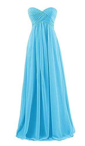 JeniDress Women's Long Strapless Chiffon Pleats Formal Party Gowns A-Line Wedding Party Bridesmaid Dress Ice Blue