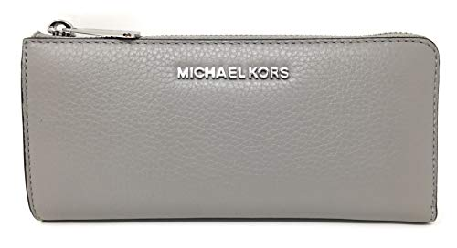 Michael Kors Jet Set Large Three Quarter Zip Around Pebbled Leather Wallet (Ash Grey)