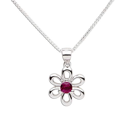 Girls Sterling Silver Daisy Simulated July Birthstone Necklace for Children (Child Birthstone Jewelry)