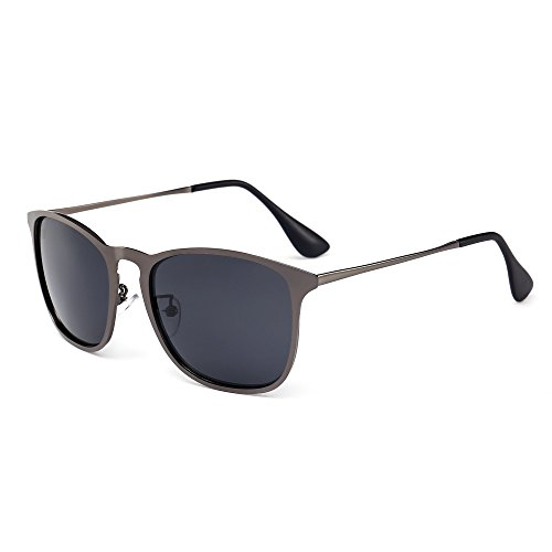 SUNGAIT Stylish Aluminum Chris Sunglasses Wayfarer Sun Glasses For Men Women (Gunmetal Frame/Gray Lens, - Costa Sunglasses Ebay