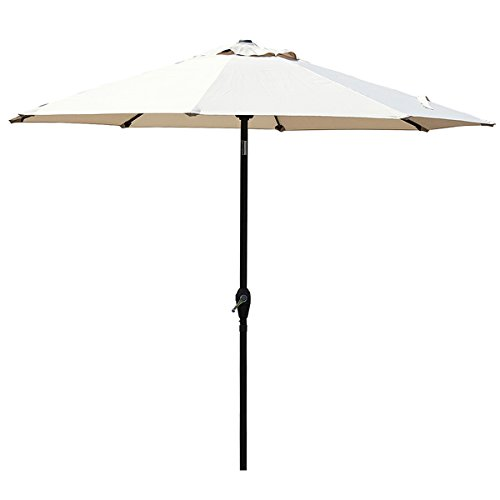 Mefo garden 9 Ft Tilt Market Outdoor Patio Umbrella with 8 Sturdy Ribs, Beige