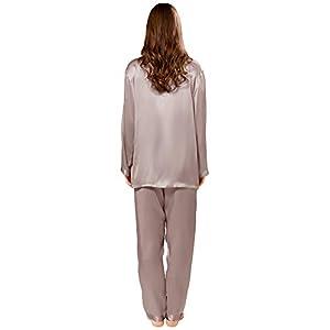 ElleSilk Donna Pigiama Lungo in 100% Seta, Abbigliamento da Notte in Seta, 22 Momme, Ipoallergenico