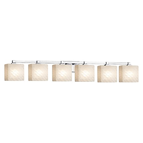 Justice Design Group Lighting FSN-8436-55-WEVE-CROM-LED6-4200 Fusion Regency LED 6-Light Bath Bar Finish with Artisan Glass Weave-Rectangle Shade, Polished Chrome Crom 6 Light Fusion