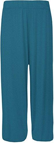 Unique Femme Pantalon Bleu 21fashion Uni Sarcelle Jaune Taille qwXATEd