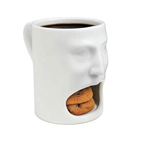 Oliasports 6 oz Ceramic Creative Cute Face Mug with Biscuit Holder, White (Coffee Mug Cookie Holder)