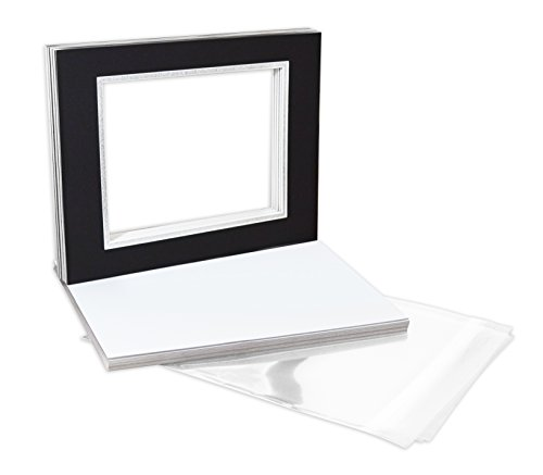 golden-state-art-pack-of-10-11x14-double-picture-mats-with-white-core-bevel-cut-for-8x10-pictures-ba
