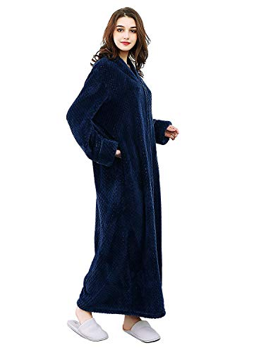 Womens Fleece Robe Plush Long Zip-Front Bathrobe with Pockets (Medium, Navy Blue) (Flannel Robe Women Zipper)