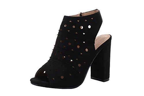 Mila Lady Erin 7A Women's Laser Cut Stacked Chunky Heel Platform Peep Toe Bootie,Black ()