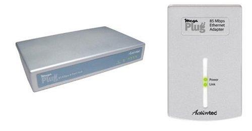 Actiontec MegaPlug 85 Mbps Ethernet Adapter & 4-Port Hub