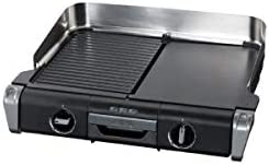Tefal TG804D14 Barbecue Électrique BBQ Family Flavor 2 en 1 de Table Grill Plancha Thermostat Réglable 2 Surfaces de Cuisson 2400W
