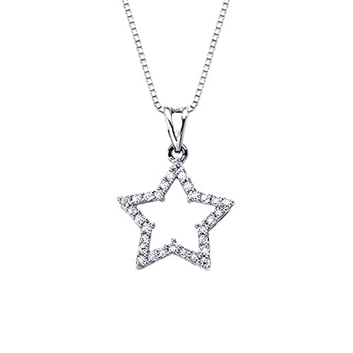 14k White Gold Round Diamond Star Pendant Necklace (1/5 cttw) - 18k White Star Diamond Gold Pendant