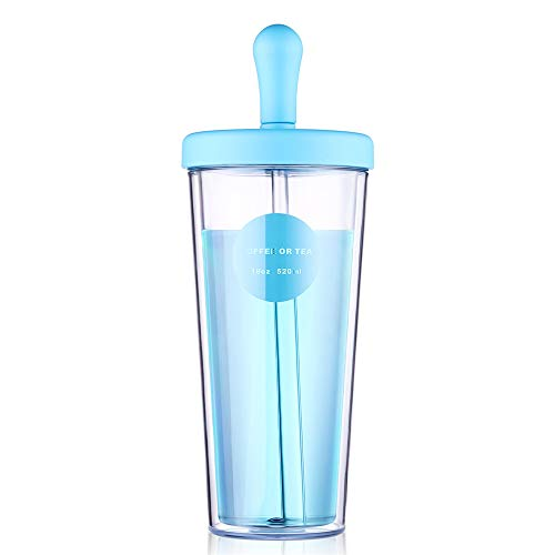 RED MAISON Insulated Travel Tumblers Double Wall Drink Tumbler Cup with Reusable Straw & Lid for Party Coffee Juice Beverage To Go Hot or Cold Drink, 18 oz (Blue)