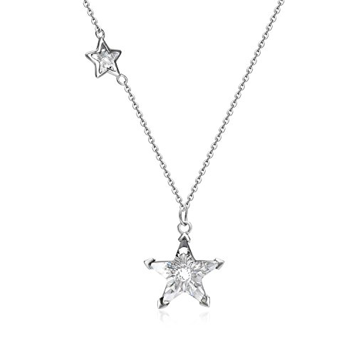 - YAN & LEI Sterling Silver Twinkling Double Swarovski Crystal Stars Pendant Necklace 18