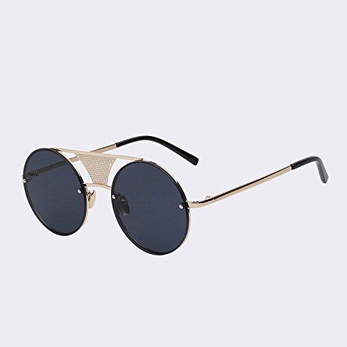 hombres el de espejo sol Gafas redondas de revestimiento sol de oro sin de alta metal UV400 W gafas nuevamente negro lente de gafas reborde TIANLIANG04 de lens Punk Mens black a calidad Gold de w OUEqfd1fnw