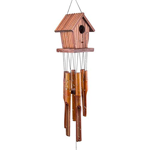 "WOODMUSIC Wind Chimes Outdoor, 37"" Large Birdhouse Windchimes Amazing Grace with 6 Bamboo for Garden, Patio, Balcony Indoor & Outdoor (Bamboo Yellow)"