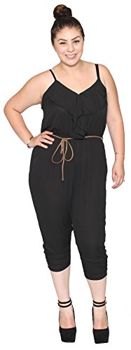 Libian Jr Plus Size Summer Chiffon Spaghetti Strapped Jumpsuit with Belt (3X, BLACK)