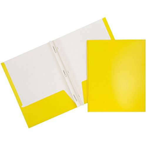 JAM Glossy Two Pocket Folders with Fastener - Yellow - 50...