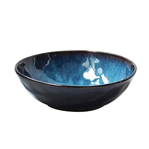 Japan Style Ceramic Bowl Round Diningware, Serving Bowls, Tableware Glazed Blue Bowl For Food, Salad, Fruit And Soup, Food Safe Dishware, Easy To Clean, (Size : 9in)