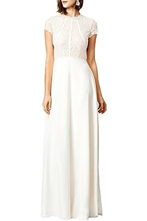 WOOSEA Women's Retro Floral Lace Wedding Maxi Bridesmaid