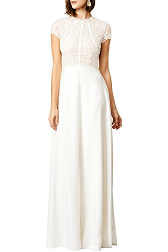 WOOSEA Women's Retro Floral Lace Wedding Maxi Bridesmaid Long Dress (Medium, White)