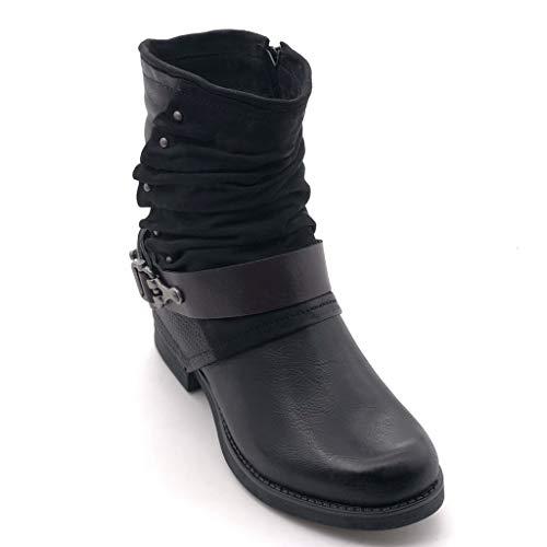 Motard 2 Mode Bloc Fourrée Tréssé Intérieur Noir Lanière Talon 5 Femme Cavalier Bottine Clouté Effet Vieilli Chaussure Cm Angkorly qt41F